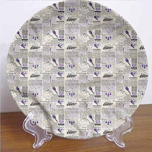 Channing Southey 6 Inch Old Newspaper Customized Dinner Plate Heart Lavender Forms Round Porcelain Ceramic Plate Decor Accessory for Pasta, Salad,Party Kitchen Home Decor