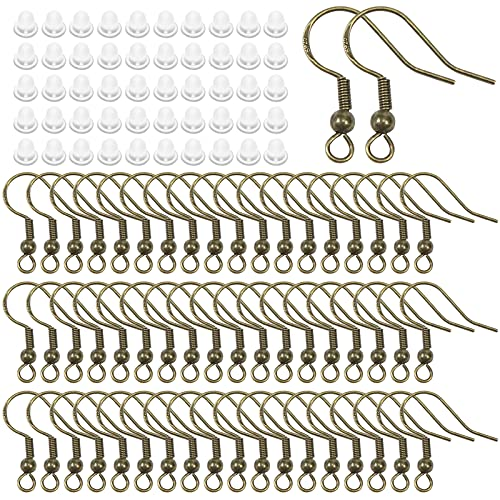 TOAOB 600 Piezas Tono Bronce Antiguo 18 mm Ganchos para Pendientes Plata 925 Plateada Hipoalergénica y 5 mm Tapón de Pendiente de Goma Cierres Accesorios Utilizado en La Fabricación de Joyas
