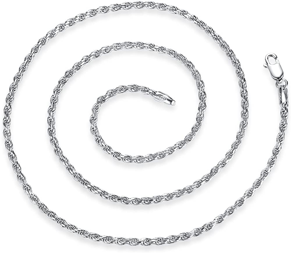 Ashley Large discharge sale Jeweller 2mm Sterling Max 57% OFF Silver Rope Diamond-Cut Neckl Chain