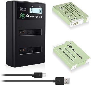 Powerextra - Juego de 2 baterías de repuesto NB-6L y cargador LCD dual para Canon NB-6L para Powershot SX510 HS SX280 HS SX500 IS SX700 D20 S90 D30 ELPH 500 SX270 SX240