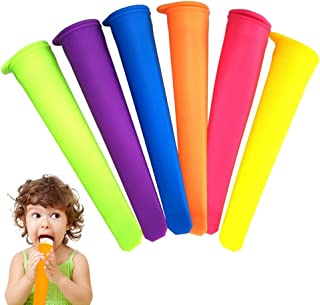 CheeseandU 6Pack Silicone Ice Pop Molds Homemade Silicone Popsicle Molds with Attached Lids Popsicle Maker Molds DIY Ice C...