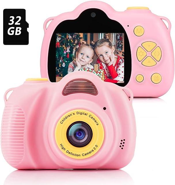 Fede Cámara para Niños con Tarjeta TF 32GBCámara Digitale Selfie para NiñosVideo cámara Infantil con Pantalla de 2.4 PulgadasHD 8MP/1080P Doble Objetivoa Prueba de GolpesCarcasa de Silicona