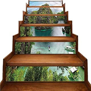 Island Stair Mural Stickers Cliff in Philippines Wallpaper Decor