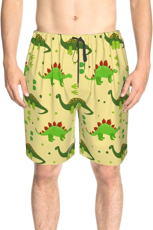 JINJUELS Men's Swim Trunks Cute Dinosaurs Grass Green Beachwear Board Shorts Drawstring 3D Printed Beach Swim Trunk