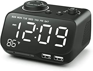 BUFFBEE Rise Radio Alarm Clock-Dual Alarm with Weekday/Weekend Mode, Dual USB Charger, 0-100% Ddimmer, Auto-Off Radio Timer, Snooze, Temperature, Adjustable Volume, Small Clock for Bedrooms/Bedside