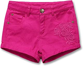 HOLIBEE Girls Skimmer Brushed Shorty Shorts Summer Classic Bermuda Stretch Backpocket Embroidery 6-12
