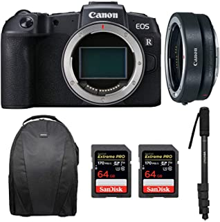 Canon EOS RP Mirrorless Digital Camera Body + Canon EF-EOS R Mount Adapter with Two 64GB Extreme PRO SD Cards & Photo and Travel Bundle