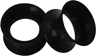 EG GIFTS Pair of Black gauges Ultra Thin Walled Silicone Double Flared Flexi Ear Tunnels 6 Sizes to Choose (0 Gauge (8mm))