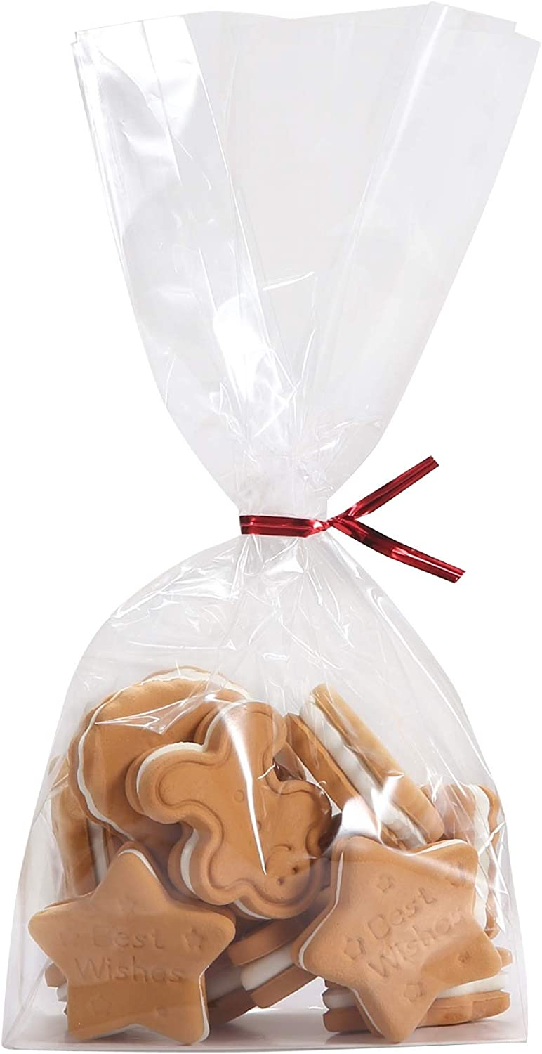 100 Clear Flat Bottomed Cookie Bags Twist with Insert Cheap bargain Fresno Mall Paper Ties
