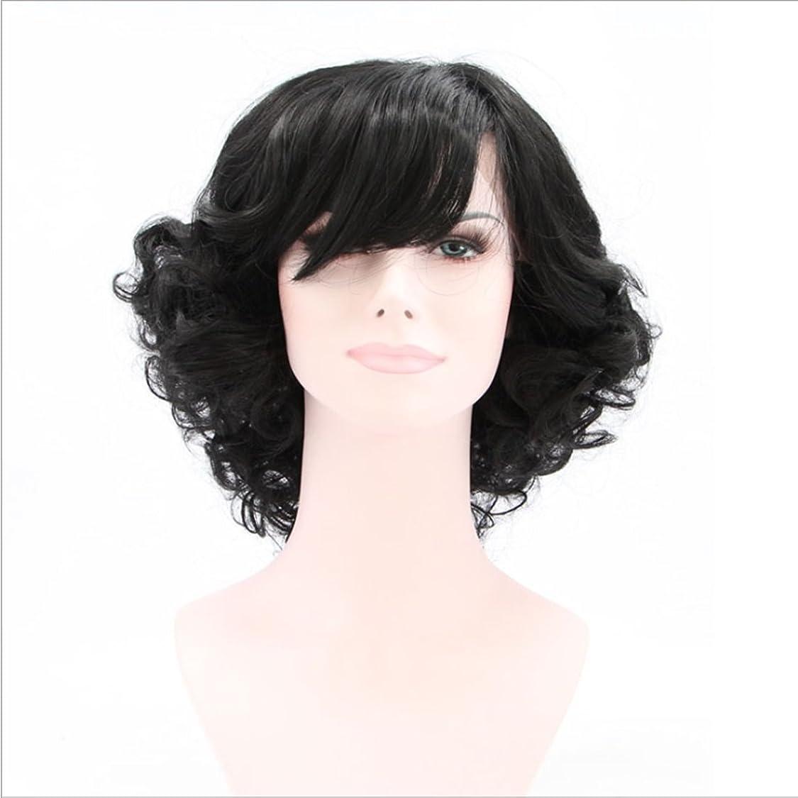 凶暴な脆いラフDoyvanntgo 女性のための短いカーリーウィッグ高温シルクのフロント斜めバングの合成毛のフロントフルハウス織りのための自然な黒のかつらカーリーヘア (Color : ブラック)