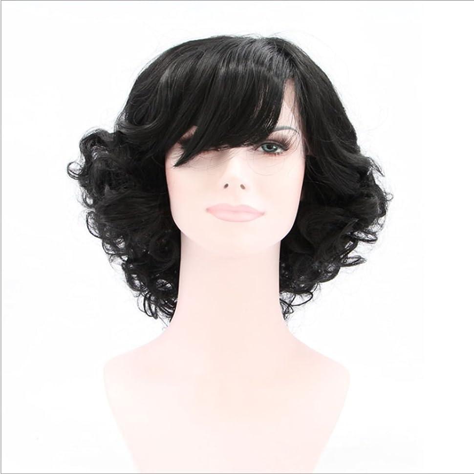 マイコン不調和うんざりDoyvanntgo 女性のための短いカーリーウィッグ高温シルクのフロント斜めバングの合成毛のフロントフルハウス織りのための自然な黒のかつらカーリーヘア (Color : ブラック)