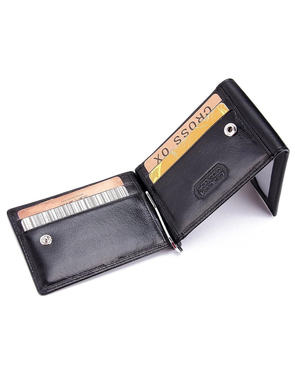 処方スライム理想的(コンタクトズ)Contacts 本革メンズマネークリップ 三つ折り財布バッグカードホルダー スリムコインパース