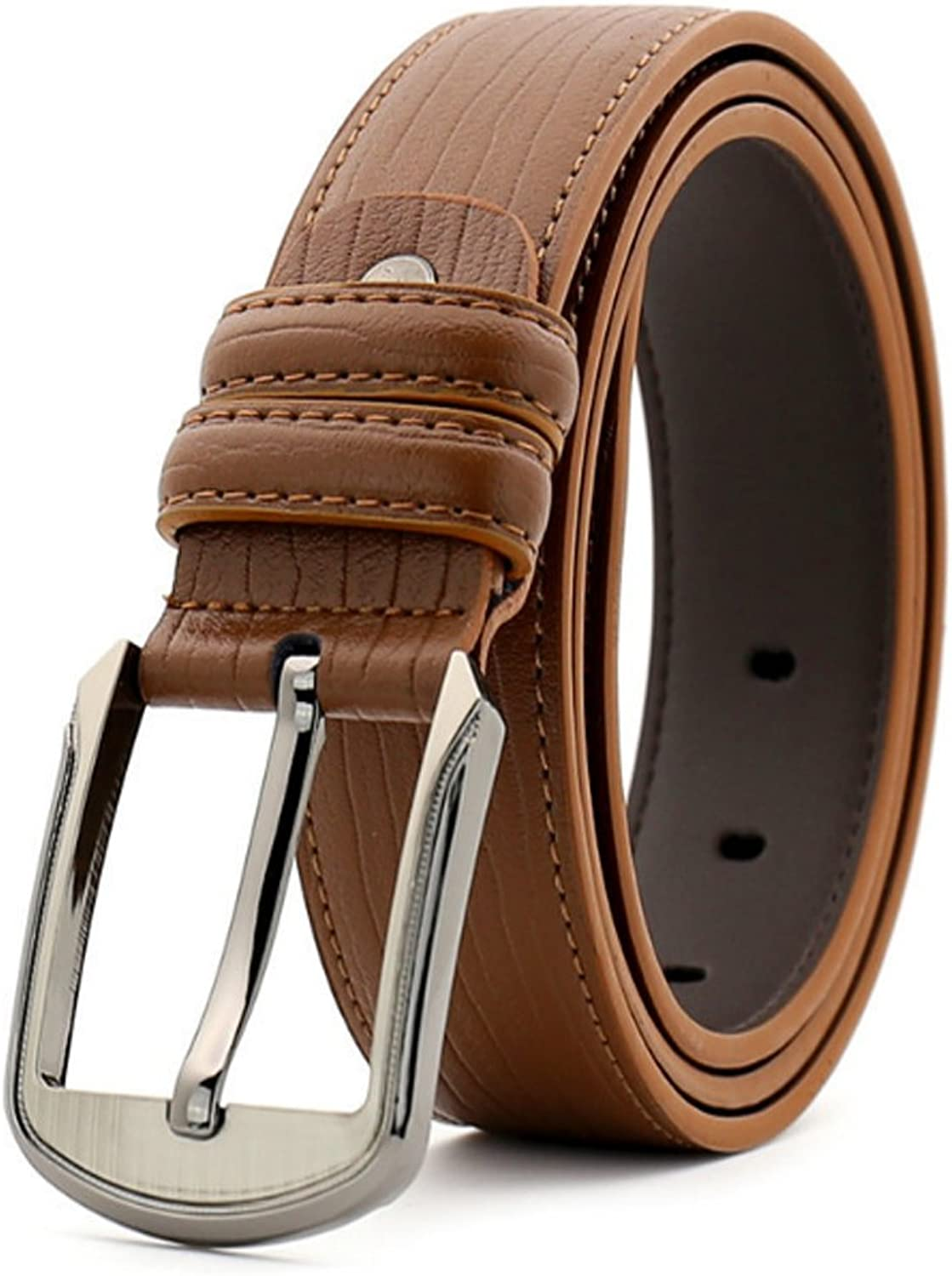 Men Leather Dress Belt Men's Belt Business Casual Leather Pin Buckle Belt Suitable for All Seasons and Places (color   Yellow Brown)