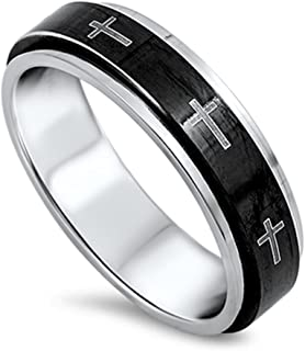 Spinner Cross Christian Jesus Love Ring New 316L Stainless Steel Band Sizes 6-13