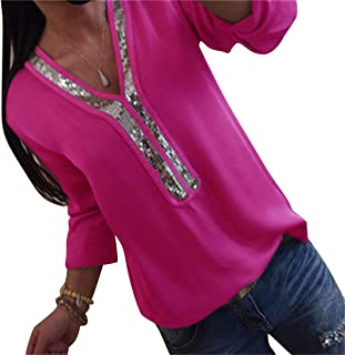 MK988 Women's V Neck Long Sleeve Casual Patchwork Large Size Pure Color Blouse T-Shirt Top