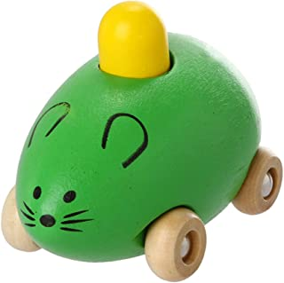 Amaae Fashion Smart Gift Kids Child Baby Cute Mice Squeak Wooden Toy Car New GN(Color:Green,Material:Other)