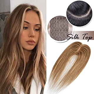 Highlighted Human Hair Toppers for Women With Thinning Hair Clip in Top Hair Piece Silk Base Top Hairpiece 100% Density Hand-made Crown Hair Extensions 16 inch Medium Brown mixed Dark Blonde #4&27
