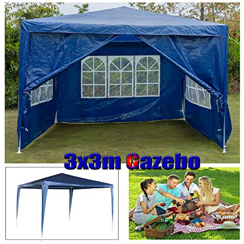 Garden Gazebo Marquee with Sides Panels, Outdoor Wedding Party Sun Shade Tent Canopy, Pavilion Patio Event Shelter, Fully Waterproof, Powder Coated Steel Frame, 3x3m, Blue