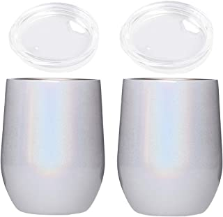 New Creative Rainbow Wine Glasses, Customized Stainless Steel Double - Layer Vacuum Egg-Shaped Cups Rainbow Paint Thermal Insulation Wine Glass