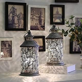 """JHY DESIGN Set of 2 Metal Table Lamp Battery Powered 10.5"""" Tall Cordless Lamp Light with Edison Style Bulb Battery Operate..."""