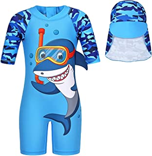 Jurebecia Swimsuits for Little Boys One-Piece Rash Guard with Hat Children Pool Party Beach Water Sport UPF 50+ Swimming S...