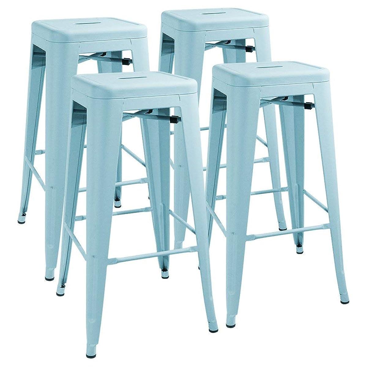 Furmax 30 Inches Metal Bar Stools Stools Indoor-Outdoor Stackable Kitchen Stools Set of 4(Blue)