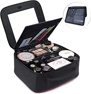 TOPSEFU Makeup Bag Quick Make up Bag with Mirror and Jewelry area Makeup Case Cosmetic Case makeup Organizer Makeup Train Case with Adjustable Dividers for Makeup Brushes Toiletry Accessories