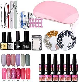 MAOJIE Traje de manicura,Kit de inicio de esmalte de uñas de gel con luz UV/LED Lámpara de uñas Herramientas de manicura profesionales