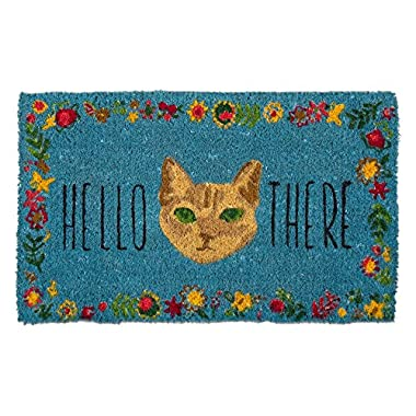 Tag - Hello There Cat Coir Mat, Decorative All-Season Mat for The Front Porch, Patio or Entryway, Blue