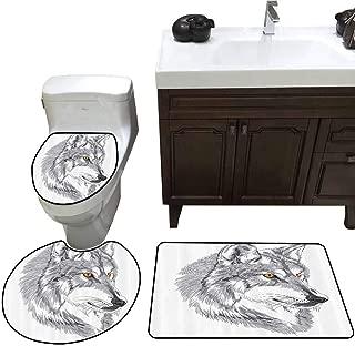 3 Piece Toilet Cover Set Tattoo Decor Handmade Sketch Portrait of Siberian Wolf Wild Animal Werewolf Legend Husky Artwork 3 Piece Shower Mat Set Grey