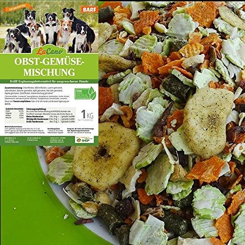 LuCano 1 kg Hunde Barf Ergänzungsfutter Obst + Gemüse Flocken mit Kräutern | glutenfrei - getreidefrei