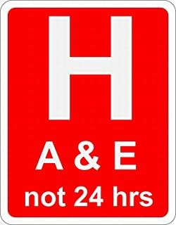 Ufcell Hospital Ahead with Accident and Emergency Facilities Road Safety Sign Notice Warning Security Sign Street Decor 8x12