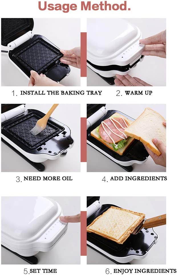 Sandwich Maker Panini Press Electric Grill Non-Stick voor steaks, gegrild vlees Red