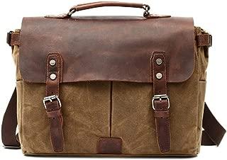 Men's Vintage Raincoat Waxed Canvas Business Shoulder Leather Briefcase Laptop Messenger Leather laptop bag JUYOUSHENGKEJI