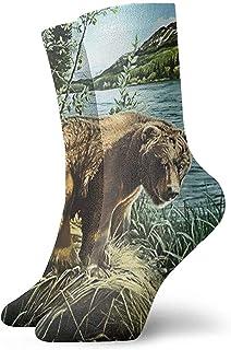 Kevin-Shop, Calcetines de Vestir para Hombre Vintage Bear On Lake Side Winter Warm Thick Impreso Casual Cozy Crew Calcetines