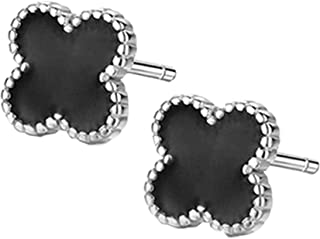Sterling Silver Plated Black Onyx Agate Beads Sided Four Clover Flower Womens Stud Earrings