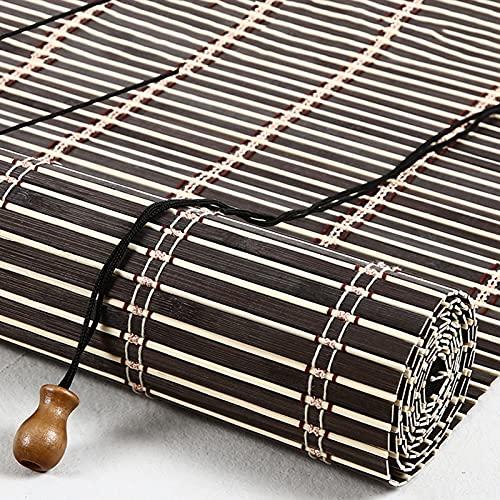 Persiana enrollable de bambú de estilo retro Estores de bambú Rollo bambú Ventanas natural Bamboo Blind para protector solar para ventanas,puertas,Jardín,Patio,Balcón,Personalizable (110 x 140 cm)