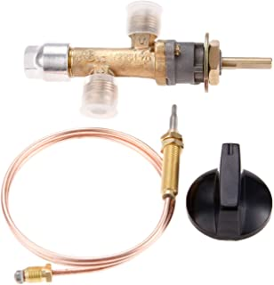 Aupoko Gas Control Cock Valve with Thermocouple and Knob Switch, LPG Low Pressure Propane Gas Safety Valve Kit, with Flare Thread 5/8''-18UNF Inlet & Outlet, Fits for Gas Grill, Heater, Fire Pit