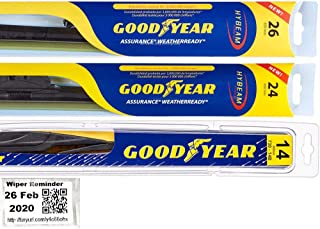 Windshield Wiper Blade Bundle - 4 Items: Driver, Passenger Blade & Rear Blade & Reminder Sticker (Assurance WeatherReady with Goodyear Rear) fits 2016-2019 Honda Pilot