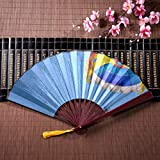 WYYWCY Parapente Chino para Hombre en un Cielo Azul Claro con Marco de bambú Colgante de Borla y Bolsa de Tela Ventilador japonés de Mano Ventiladores para Mujeres Ventiladores Chinos