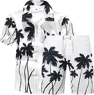 Mens Floral Button Down Shirt and Shorts 2 Piece Set Outfits