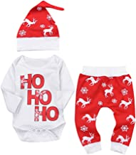 Musommer Baby Fawn Snowflake Set Beautiful Newborn Infant Baby Boy Girl Romper Tops+Pants Christmas Deer Outfits Set