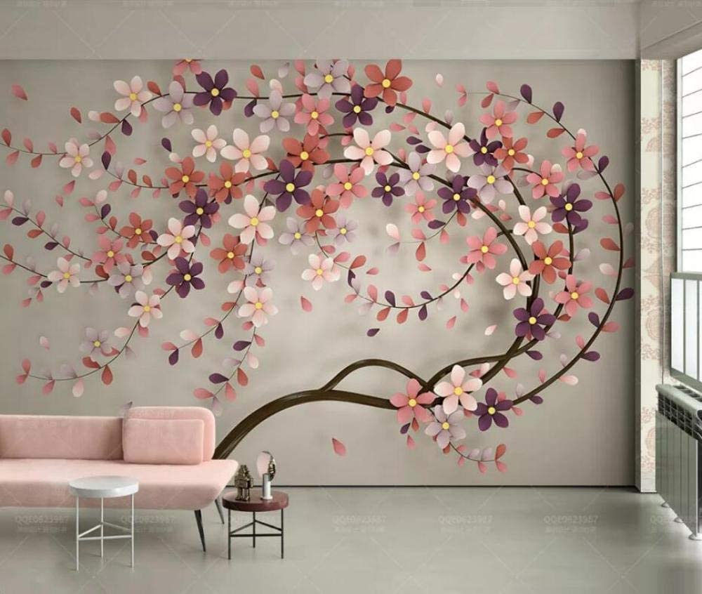 Amazon Com Photo Wallpaper 3d Modern A Tree Flowers Nordic Living Room Tv Background Wall Decor Painting Mural Wallpaper For Bedroom 400x280cm Xxl Kitchen Dining