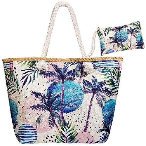Meersee Große Strandtasche mit Reißverschluss und Innentasche Wasserdicht Badetasche...