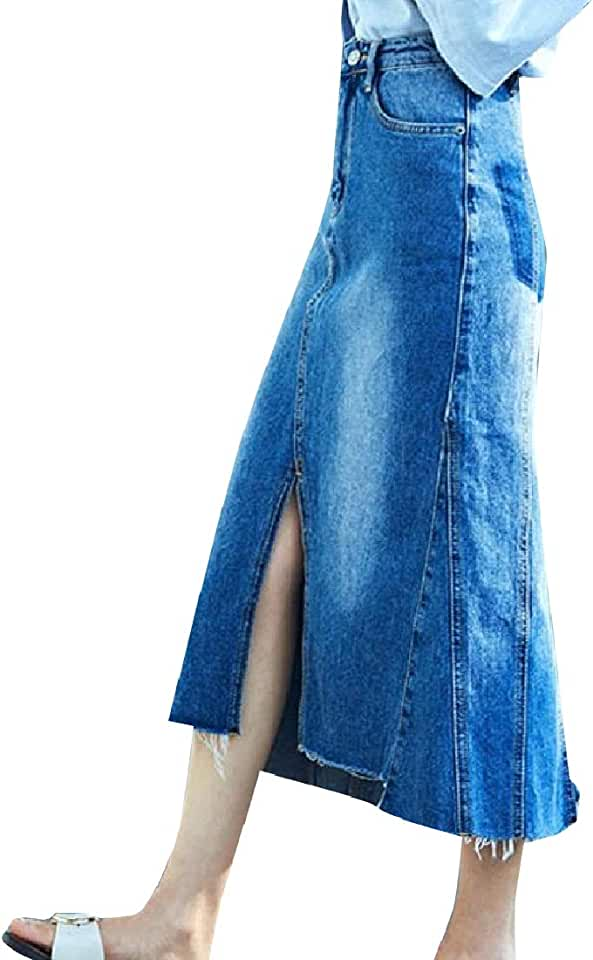 CuteRose Womens Comfort Oversized Split Mermaid Below The Knee Denim Skirt