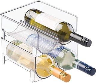 mDesign range-bouteilles (lot de 2) – casier à bouteilles empilable en plastique pour bouteilles de vin ou autres boissons...
