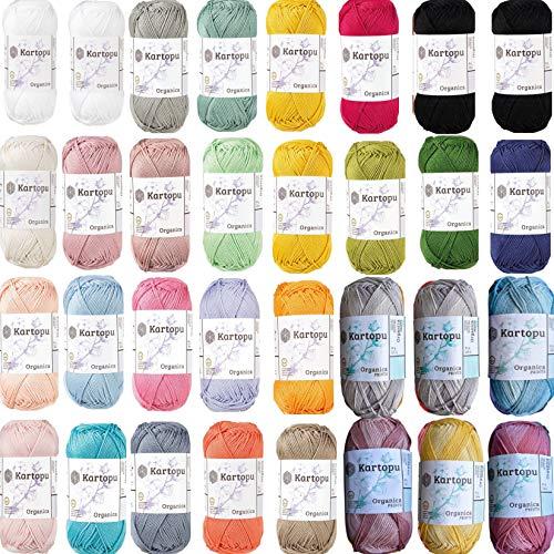 Kartopu Farbpaket 32x50gr (1.600gr) Baumwollgarn Häkelgarn aus 100% Baumwolle zum Stricken und Häkeln Ökotexzertifiziert