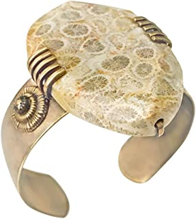 Fossilized Coral Cuff with Antique Brass Accents by Designer Jan Michaels