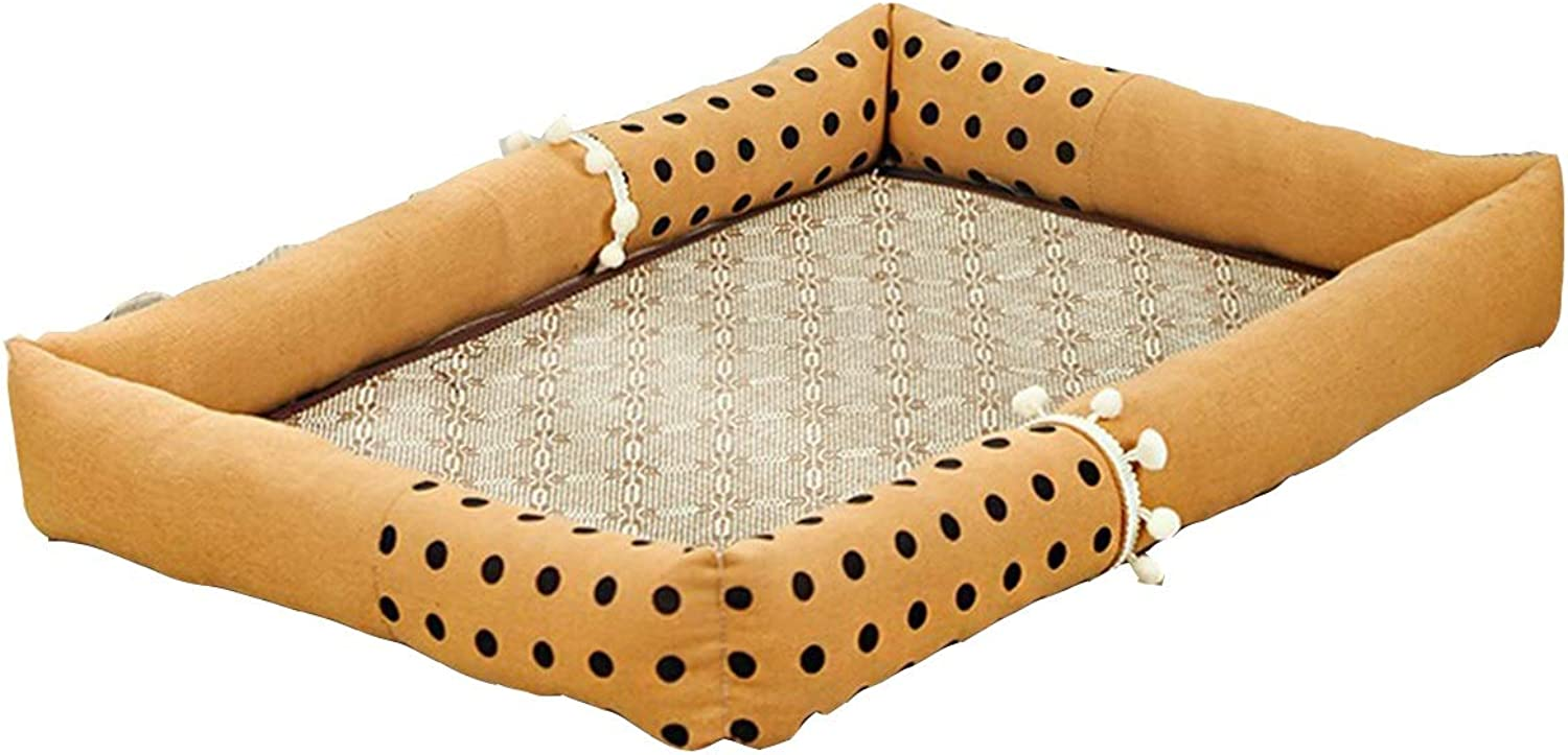 Kennel, Cat Litter, Cat and Dog Four Seasons Universal Summer Mat, Removable and Washable NonStick Cat Dog Supplies, Pink Dots and Brown Dots, 2 Optional (color   Brown, Size   M)