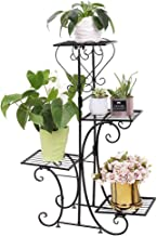 """4 Tier Indoor Plant Stand Metal Plant Shelf Stand Outdoor Potted Herb Planter Plant Display Rack for Patio Garden Size 22.5"""" x 31.9"""" Black"""